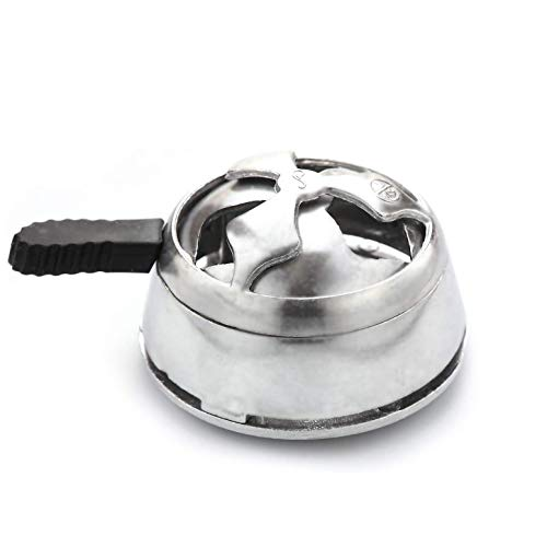 Hookah Bowl Set Vortex Style Silicone Hookah Bowl & Lotus Charcoal Holder Shisha Heat Management Charcoal Funnel Box Burner (Silver)