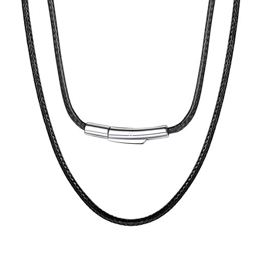 Leather Necklace Cord Chain Men Short Male Choker 16 inches 2mm Black Leather Jewellery Cord