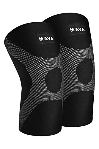 Mava Sports Knee Compression Sleeve Support with Adjustable Strap for Men and Women - Perfect for Joint Pain, Weightlifting, Running, Gym Workout, Squats and Arthritis Relief (Black, Large)