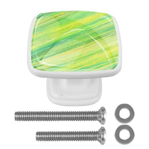 Tirador de armario abstracto, pintado verde, 4 piezas cuadradas, de cristal, para dormitorio, sala de estar, habitación de los niños, cocina, decoración del hogar