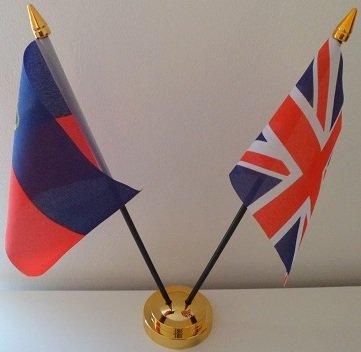 Liechtenstein 2 Drapeau Union Jack-Tableau d'affichage de l'amitié avec Base dorée