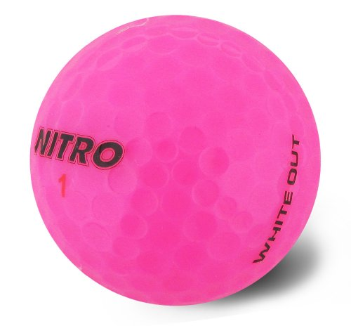 Nitro Long Distance Peak Performance Golf Balls (15PK) All Levels White Out 70 Compression High Velocity White Hot Core Long Distance Golf Balls USGA Approved-Total of 15-Hot Pink