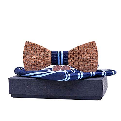 Liuzecai Fliege aus Holz für Männer Männer und Frauen Streifen Holz Fliege Anzüge Puzzle Einstecktuch Manschetten Männlichen Geschenk Box Fliege