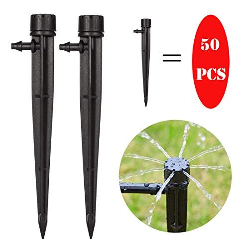 NC56 Tropfer Bewässerung Micro Flow Dripper Sprinkler 360 Grad verstellbar, Einstellbarer Bewässerungs Mit 8 Löchern für Pflanzen Tropfstrahler Gemüsegarten/Blumenbeet/Kräutergarten (50pcs)