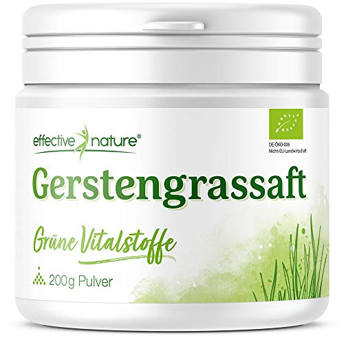 effective nature - Gerstengrassaft Pulver Bio - Rohkost - Reich an Eisen, Zink und Folsäure - Hochwertige Bio-Qualität aus den USA, 200 g