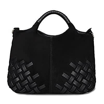 Nico Louise Women Weave Suede Genuine Leather Handbag Female Leisure Casual Lady Crossbody Shoulder Bag Messenger Top-handle Bags (Black Big)