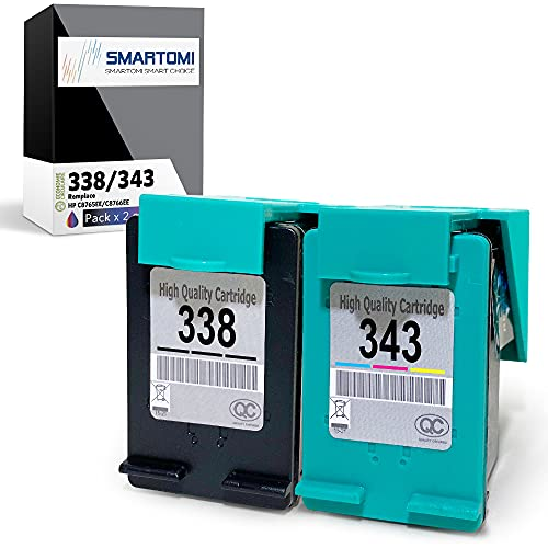 SMARTOMI - Multipack de 2 Cartouches d'encre compatibles avec modèles HP 338 343,pour imprimantes HP DeskJet 460 5740 6540 6620 6840 9800 PhotoSmart 2575 2610 8450 Pro B8360 PSC 1610 1613 2355