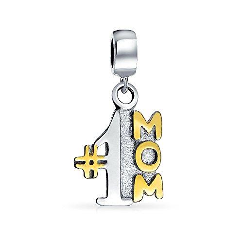 Baumsche #1 Mama Charme Perle Baumseider Für Mutter Für Frau Zwei Ton 14K Vergoldet 925 Sterling Silber Passt Europäische Armband