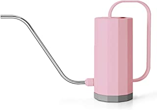 THEKBS Plastic Watering Can, Modern Style Watering Pot with Long Spout, Small Size for Bonsai Indoors and Outdoors, 40oz/1.2L (Pink)