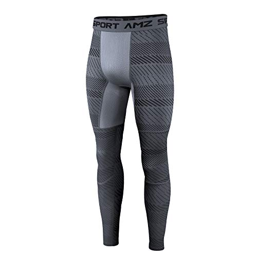 AMZSPORT Herren Kompressionshose Schnelltrocknende Laufhose Sporthose Atmungsaktive Trainingshose - Grau XL