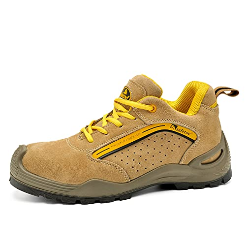 Chaussure de Securité Homme Légères Chaussures de Travail Respirantes - L-7296Y S1P Basket de Sécurité Chaussures de Sécurité. (42 EU, Jaune)