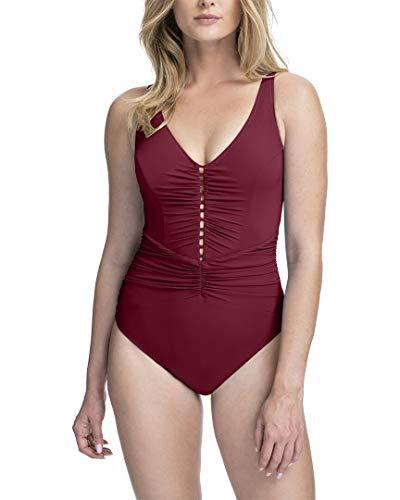 Profile by Gottex Women's Standard Center Detail V-Neck One Piece Swimsuit, Tutti Frutti Merlot, 12