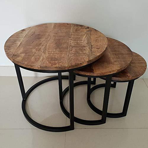 BRIX 3er Set Couchtisch Carmen Tischset Beistelltisch Sofatisch Holz Metall schwarz