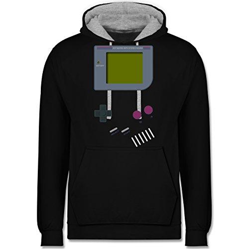 Shirtracer Nerds & Geeks - Gameboy - 3XL - Schwarz/Grau meliert - Gameboy - JH003 - Hoodie zweifarbig und Kapuzenpullover für Herren und Damen