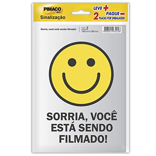 Placa Adesiva para Sinalização Pimaco BIC, Sorria Você Está Sendo Filmado, 14x19cm, 891745, 2 unidades