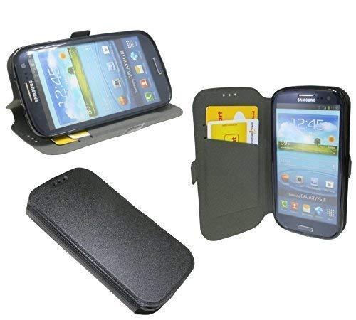 ENERGMiX Buchtasche kompatibel mit Samsung Galaxy S3 Neo i9301 Hülle Hülle Tasche Wallet BookStyle Bumper Zubehör mit Standfunktion in Schwarz