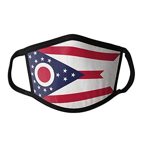Mundschutz Maske Stoffmaske Groß Notleidende USA-Staat Flagge Ohio Wiederverwendbar Waschbar Weiches Baumwollgefühl Polyester Fabrik Schwarze Naht Trimmen