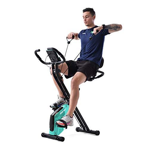 Bicicleta estática X-Bike, con sensores de pulso, para entrenamiento en casa, asiento acolchado y respaldo