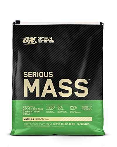 Optimum Nutrition Serious Mass Weight Gainer Protein Powder, Vanilla- 12 Pound