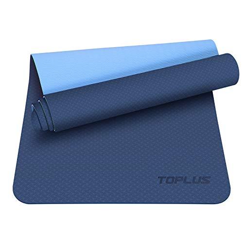 TOPLUS Preumium Yogamatte aus hochwertigen TPE, rutschfest Yogamatte Gymnastikmatte Übungsmatte Sportmatte für Yoga, Pilates,Fitness usw.- Maße 183cm Länge 61cm Breite (Dunkelblau)