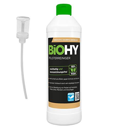 BiOHY Limpiador tapicerías (1 botella de 500ml) + Distributeur | Ideal para asientos de coche, sofás, colchones, etc. | También es adecuado para las lavadoras (Polsterreiniger)