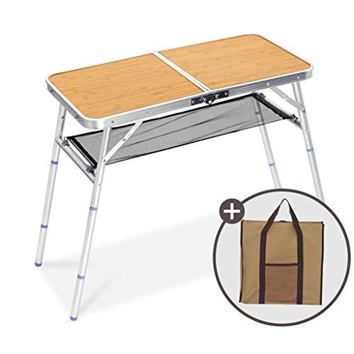 A&D Aluminium standaard en houten tafelblad met verstelbare hoogte voor het dragen van picknicks, outdoor draagbare campingtafel,