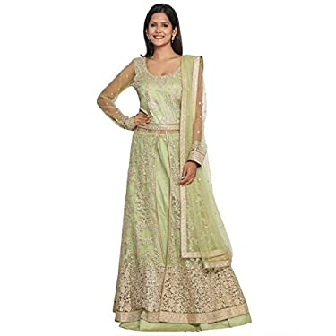 MOHEY Women's Net Embroidered Smart Long Slit Kurta & Skirt Stitched Suit with Dupatta (Green)