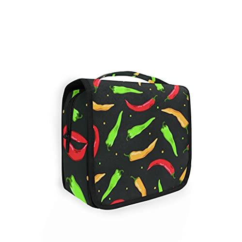 Bolsa de aseo colgante con estampado de chile y pimienta picante, bolsa de lavado grande para mujer, organizador de cosméticos para mujeres, niñas, niños, bolsa de ducha