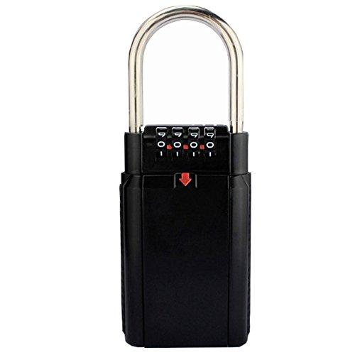 1stモール ダイヤル式 キーボックス 4桁 南京錠 ビニール保護付き (ブラック ) ST-KEYBOX2-BK