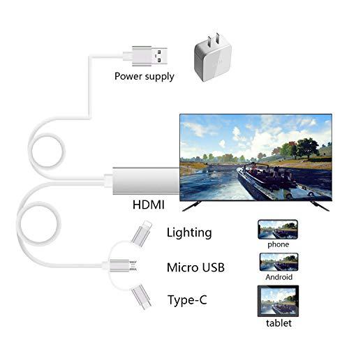 Zhongkaifa Smart Phone auf HDMI Kabel, SwiftLand 3 in 1 Blitz USB Type C zu HDMI Kabel Adapter HDTV 1080p Digitaler AV Adapter Mirroring Cable