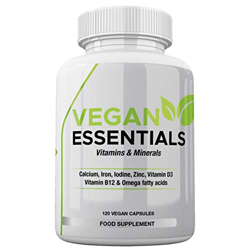 Vegan Essentials Vitamins & Minerals - 120 Easy Swallow Capsules - Vegan Vitamins & Minerals Suitable for Men & Women