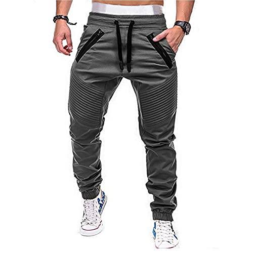 Nueva ActualizacióN Pantalones Plisados Pantalones Deportivos Casuales para Hombres Pantalones De LáPiz Harlan De Color SóLido para Hombres