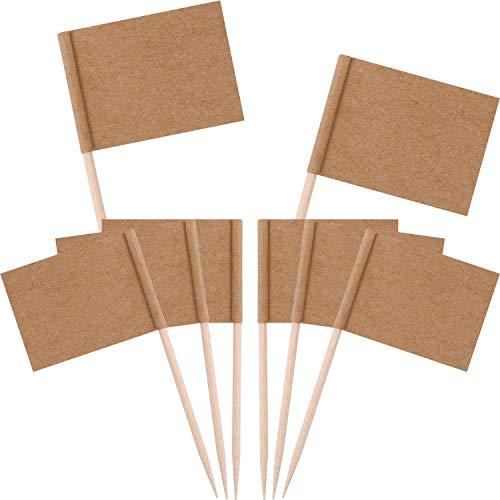 Zonon Leere Zahnstocher Fahnen Kraft Papier Flagge Cocktail Cupcake Zahnstocher Obst Picks für Cupcake Topper Party Kuchen Lebensmittel Lieferungen(200 Stücke)