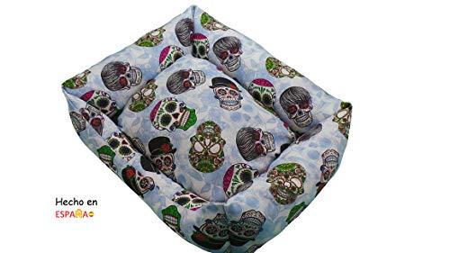 ION® Cama Cuna para Perro Y Gato Lavable Estampados y Colores Varios (Talla 3-60x50 cm Calaveras)