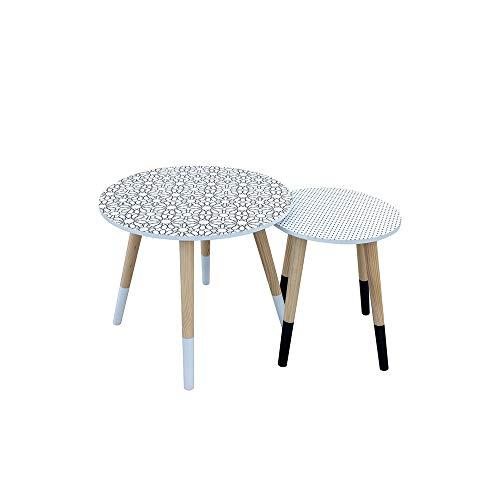 The Home Deco Factory – Juego de 2 mesas Nido con diseño de Lunares y Flores (Tablero DM, Blanco), Color Blanco, Negro, M, L