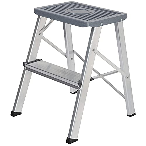 packer PRO Escaleras Plegables Aluminio de Tijera Super Resistente hasta 150Kg, Acero y Aluminio Antideslizantes, Altura de Trabajo hasta 245cm, 2 Peldaños