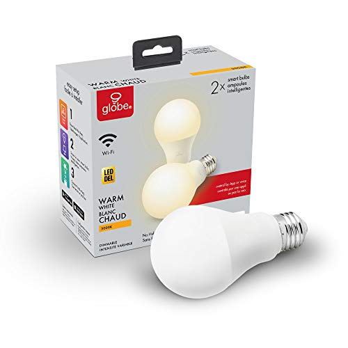 Globe Electric Collection Wi-Fi Smart 10 Watt (60W Equivalent) Dimmable Frosted LED Light Bulb 2-Pack, No Hub Required, Voice Activated, 3000K, A19 Shape, E26 Base 34209, Warm White, 2 Count