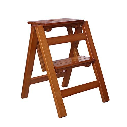 Küchen-Tritthocker mit 2 Stufen, zusammenklappbar, aus Holz, für Kinder und Erwachsene Nussbaum hell