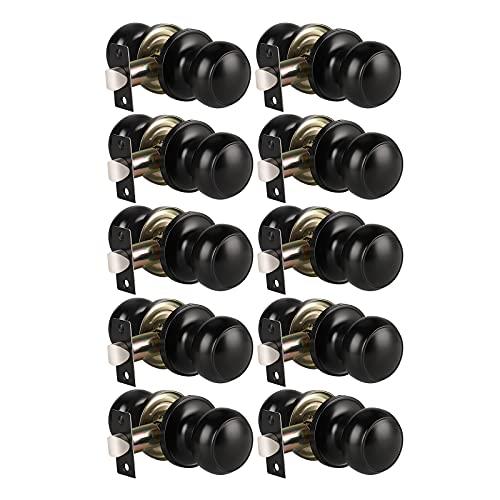 Modern Door Knob Passage Door Knob, Black Closet Door Knobs, Matte Black Finish, Interior/Hallway/Closet Door Use, 10 Pack