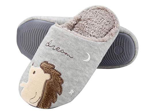 IBAIOU Winter Unisex Cute Hedgehog Slippers Warme Flauschige Hausschuhe aus weichem Fleece Plüsch Baumwolle Tier Hausschuhe Schuhe (37/38 EU, Gray)