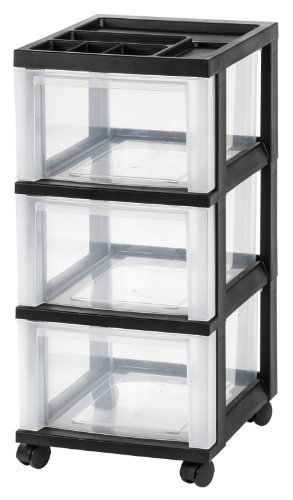 IRIS USA MC-303-TOP 3-Drawer Storage Cart with Organizer Top, Black