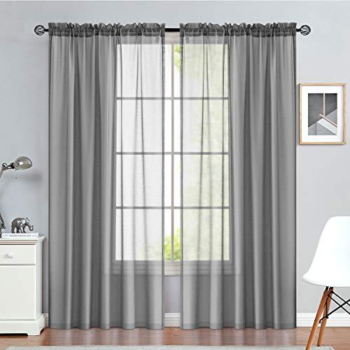 TOPICK Voile Vorhang Mit Stangen Aufhängung Transparent Gardine Fensterschal Vorhänge 160 cm x 140 cm (H x B) 2er-Set Grau