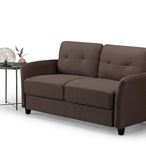 Zinus Ricardo Contemporary Upholstered 62.2 Inch Couch / Loveseat, Chestnut Brown