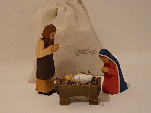 Heilige Familie Set Maria, Josef Kind blond 2tlg von Lotte Sievers-Hahn Krippenfigur mit Baumwollbeutel