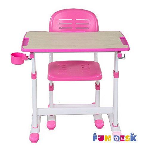 FD FUN DESK Piccolino II Pink Kinderschreibtisch höhenverstellbar, Schülerschreibtisch neigungsverstellbar, Schreibtisch mit Stuhl, 664x474x540-760 mm