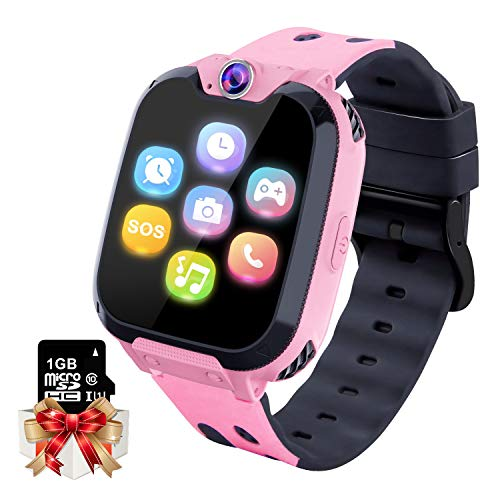 Kids Game Smartwatch MP3 Player Music Watch - [1GB Micro SD Included] Touch Screen 2 Way Call SOS Alarm Clock Games Camera Wrist Watch for Boys Girls Holiday Birthday Toys Gifts (Pink)
