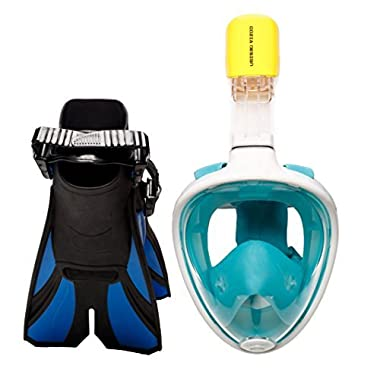 SNORKEL SET with SNORKEL MASK - SWIM FINS included - OCEAN VIEW free breathing SNORKEL MASK FULL FACE with adjustable FLIPPERS - 180° panoramic view full face snorkel mask and (Green, Small / Medium)