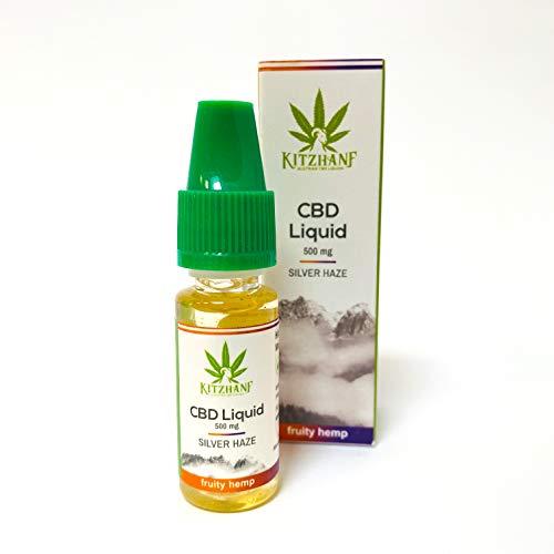 CBD Liquid ohne Nikotin - Kitzhanf® PREMIUM E Shisha Liquid Aroma Silver Haze 500mg - 10ml Vape Liquid Flasche - Aroma E Zigarette