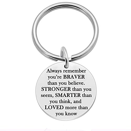 7-Almond Stainless Steel Inspirational Keychain, Always Remember You are Brave Stronger Smarter Than You Think Pendant Family Friend Gift (Stainless Steel)