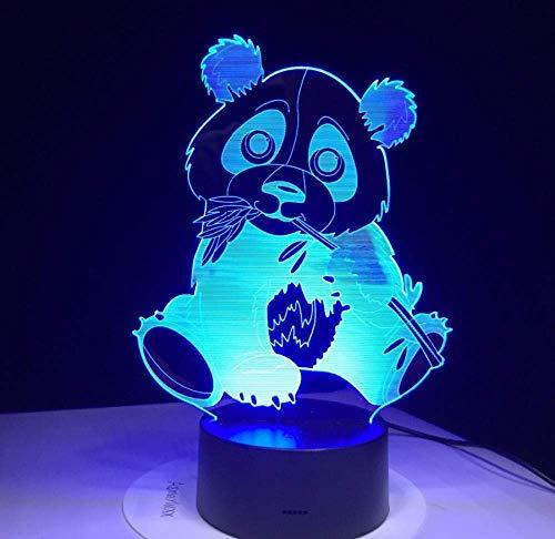 Panda Eating Bamboo 3D Night Light Kleurrijke visuele lamp voor kinderen Touch Control Gift 3D Night Light 7 kleuren USB Decor lamp